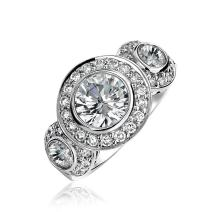Art Deco Style 925 Sterling Silver Past Present Future Cubic Zirconia AAA CZ 3 Stone Halo Circlet Engagement Ring