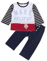 Toddler Baby Boy Clothes Little Kids Stripe Long Sleeve Top Make Relieve T-Shirt+Navy Pants 2pc Outfits Set