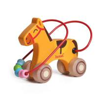 iwood Push and Pull Toys-Horse Bead Maze Educational Wooden Toys for Toddlers