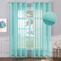 MIULEE 2 Panels Turquoise Semi Sheer Window Curtains Elegant Grommet Top Window Voile Panels/Drapes/Treatment Linen Textured Panels for Bedroom Living Room (54X90 Inches)
