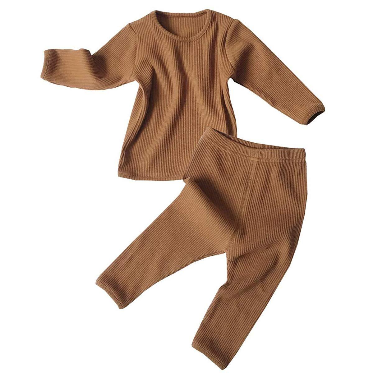 Newborn Boy Girl Solid Colors Clothes Pants Set Baby Kids Long Sleeve Tops Sweatsuit Set Sleepwear