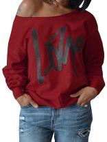 Womens Plus Size Off The Shoulder Tops Sweatshirt Love Black Lives Matter BLM T Shirt