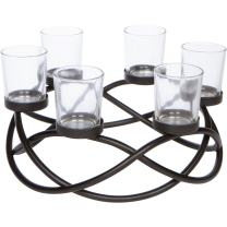 Seraphic Patio Table Tealight Candle Holder for Home Decor Centerpiece, Black, Clear Glass Votive 6 Cups