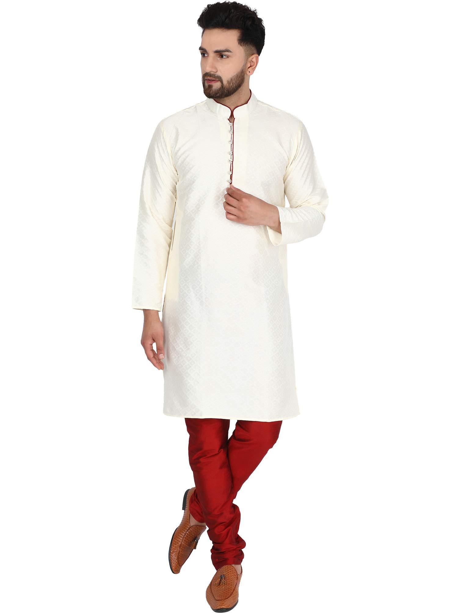 SKAVIJ Men's Indian Art Silk Summer Kurta Pajama Wedding Party Festivals Dress Set