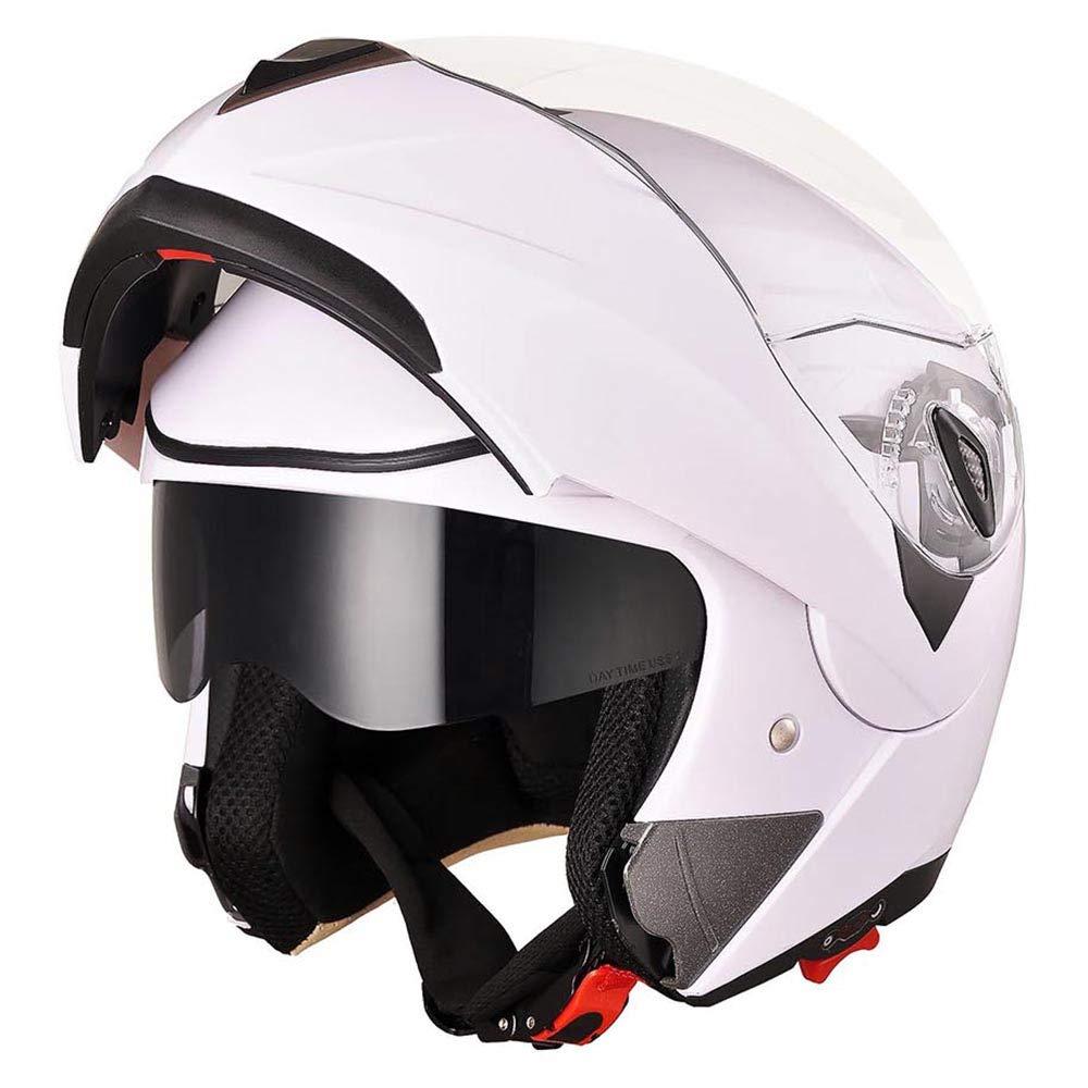 AHR Run-M Full Face Flip up Modular Motorcycle Helmet DOT Approved Dual Visor Motocross White XL