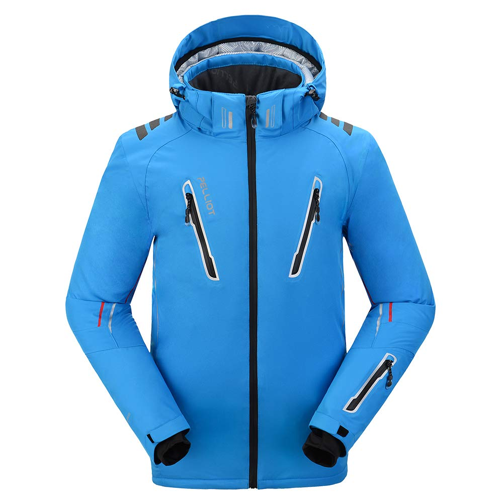 PELLIOT Men's Ski Jacket with Removable Hood Waterproof Windproof Antifouling Multi-Pockets Ski Clothes Fluorescent