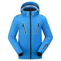 PELLIOT Men's Ski Jacket with Removable Hood Waterproof Windproof Antifouling Multi-Pockets Ski Clothes Fluorescent