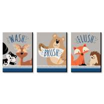 Big Dot of Happiness Stay Wild - Forest Animals - Kids Bathroom Rules Wall Art - 7.5 x 10 inches - Set of 3 Signs - Wash, Brush, Flush