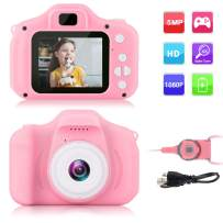 GKTZ Children's Camera Digital Kids Cameras with 2 Inch IPS Screen Rechargeable Video Camcorder Camera Toys Gifts for 3 – 8 Year Old Boys and Girls - Pink