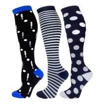 Compression Socks For Men & Women - 3 Pairs - Best Graduated Athletic & Medical for Men & Women, Running, Flight, Travels