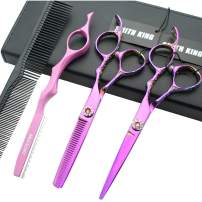 Professional Hair Cutting Scissors Set with Razor Comb Case,Hair cutting shears Hair Thinning shears with rose handle (5.5 inches)