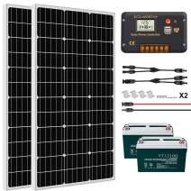 ECO-WORTHY 200W 0.8KWH/Day 12V Off Grid Solar Power System Kit Complete with 2PC 100AH Battery: 2x100W Solar Panel+20A LCD Charge Controller+ 2x100AH 12V Lead Acid Battery
