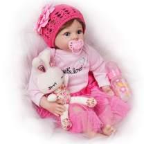 Seedollia Lifelike Reborn Baby Doll Girl Silicone Blue Open Eyes New Born 22 Inch Pink Dress
