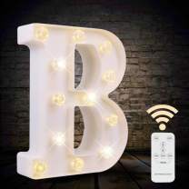 LED Letter Lights White Marquee Letters Alphabet Light Up Sign with Diamond Bulbs Remote Control Timer Dimmable Wedding Birthday Party Decoration Letters (B)