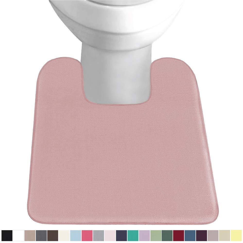 Gorilla Grip Original Thick Memory Foam Contour Toilet Bath Rug 22.5x19.5, Square, Cushioned, Soft Floor Mats, Absorbent Premium Bathroom Mat Rugs, Machine Wash and Dry, Plush Bath Room Carpet, Pink