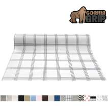 Gorilla Grip Original Smooth Top Slip-Resistant Drawer and Shelf Liner, Non Adhesive Roll, 12 Inch x 20 FT, Durable Kitchen Cabinet Shelves Liners for Kitchens Drawers and Desks, Stripe Gray White