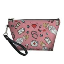 Dellukee Portable Travel Cosmetic Organizer for Women Cute Doctor Print Roomy Zipper Closure Toiletry Pouch Travel Makeup Bag Purse