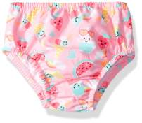 Swim Time Girls' Baby Reusable Swim Diaper UPF 50+ with Side Snaps, Pink ice Cream/Watermelon, Large 12-18M