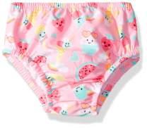 Swim Time Girls' Baby Reusable Swim Diaper UPF 50+ with Side Snaps, Pink ice Cream/Watermelon, X Large 18-24M