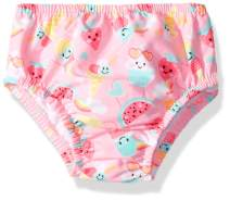Swim Time Girls' Baby Reusable Swim Diaper UPF 50+ with Side Snaps, Pink ice Cream/Watermelon, X Large 18-24M