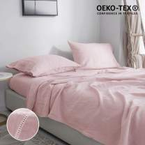 Simple&Opulence Pure Linen Sheet Set Twin- 3 Piece Belgian Flax Linen Bed Sheet (1 Flat Sheet, 1 Fitted Sheet,1 Pillowcase) -Breathable Farmhouse Girls Bedding Set(Blush Pink
