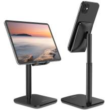 Nulaxy Phone Stand, Upgraded Height Angle Adjustable Cell Phone Stand, Cradle, Dock, Desk Phone Holder Compatible with iPhone Xs Xr 8 X 7 6 6s Plus SE 5 5s 5c, All Smartphones - Black