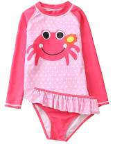 Baby Kids Girls Two Pieces Swimwear Mermaid Flamingo Hedgehog Sun Protection Swimsuit UV Rash Guard Sets