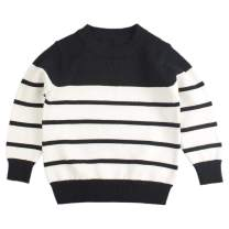 Peecabe Kids Boys Cable Knit Sweater Long Sleeve Round Collar Striped Sweatshirt Baby Cotton Pullover Sweater Spring 1-5T