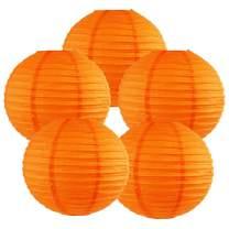 Just Artifacts 8-Inch Orange Chinese Japanese Paper Lanterns (Set of 5, Orange)