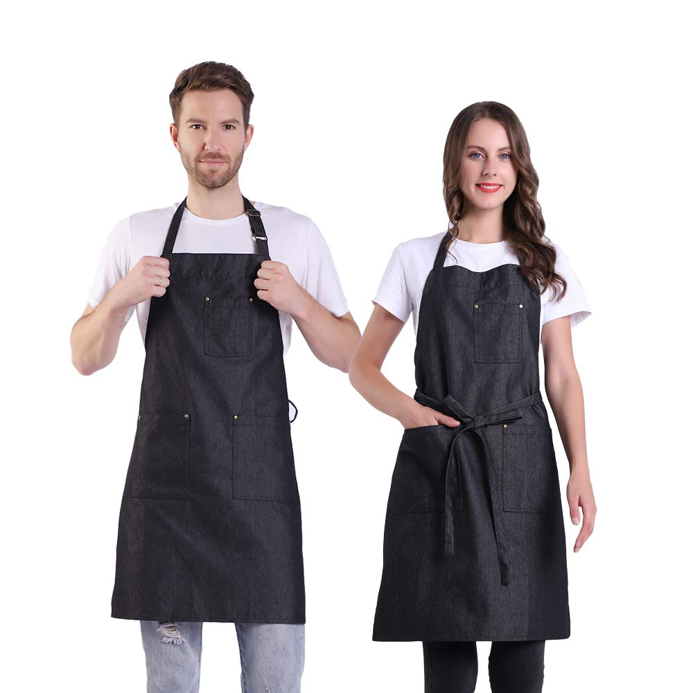 BIGHAS Denim Apron with 4 Pockets for Women Men Adjustable Size Extra Long Ties, Chef Cooking Kitchen Gardening Grill Café 6 Colors (007 Black)