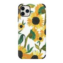 CUSTYPE Compatible with iPhone 11 Pro Max Case for Girls Women, Print Floral Flower Pattern Case Soft TPU Shockproof Back Shell Case for iPhone 11 Pro Max 6.5 inch Sunflower