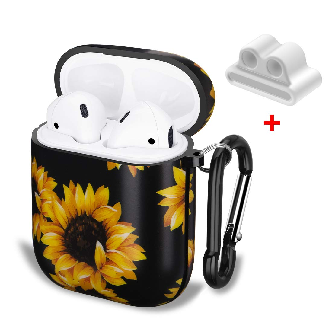 Airpods Case, SANKTON Protective Shockproof TPU Gel Case with Printing for Airpods 1st/2nd Charging Case (Sunflower)