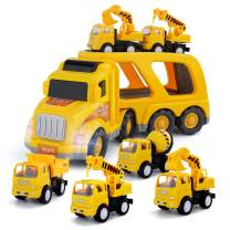 Temi Construction-Vehicles Transport-Truck Carrier Toy - with Excavator Mixer Crane Dump, Real Siren Brake Sounds & Lights, Removable Engineering Vehicle Parts, Gift for Kids Boys Girls