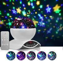 Foreita Rotating Night Light Projector, Remote Control Baby Star Projector Light Lamp with 8 Colour Dimmable Combinations, Best Baby Gift for Kids Children Baby Bedroom Bed Decor Living Room - White