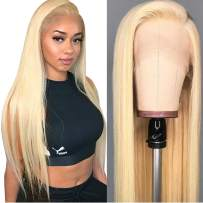 ITODAY 613 Blonde Lace Front Wigs 13x4×0.5Inch Brazilian Straight Human Hair Wigs for Women 613 Blonde Lace Frontal Wigs Pre Plucked With Baby Hair 150% Density (16 Inch, 613 Straight Wig)
