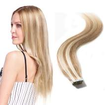 Tape in Hair Extensions 100g Balayage Rooted Remy Human Hair Highlight Highlighted Double Side Tape Seamless Skin Weft 40pcs Long Straight #12/613 Light Brown mix Bleach Blonde 20 inch