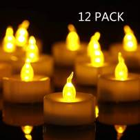 Tea Light, 12 Pack Flameless LED Tea Lights Candles Flickering Warm Yellow 100+ Hours Battery-Powered Tealight Candle. Ideal for Party, Wedding, Birthday, Gifts and Home Decoration (12 Pack)