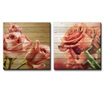 wall26 - Bouquet of Vintage Pink Roses Along with a Bouquet of Orange Roses Over Wooden Panels - Canvas Art Home Decor - 24x24 inches