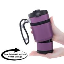 BruTrek Double Shot 3.0 Travel French Press Coffee Mug - Bru-Stop Insulated Stainless Steel Mug with Non-Slip Grip, Wild Plum, 16 oz Cup
