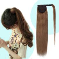 Wrap Around Ponytail Human Hair Extensions Light Brown #6 Comb Clip in Long Straight Pony Tail for Women 90g Thick Soft One Piece Hairpiece 20 inch