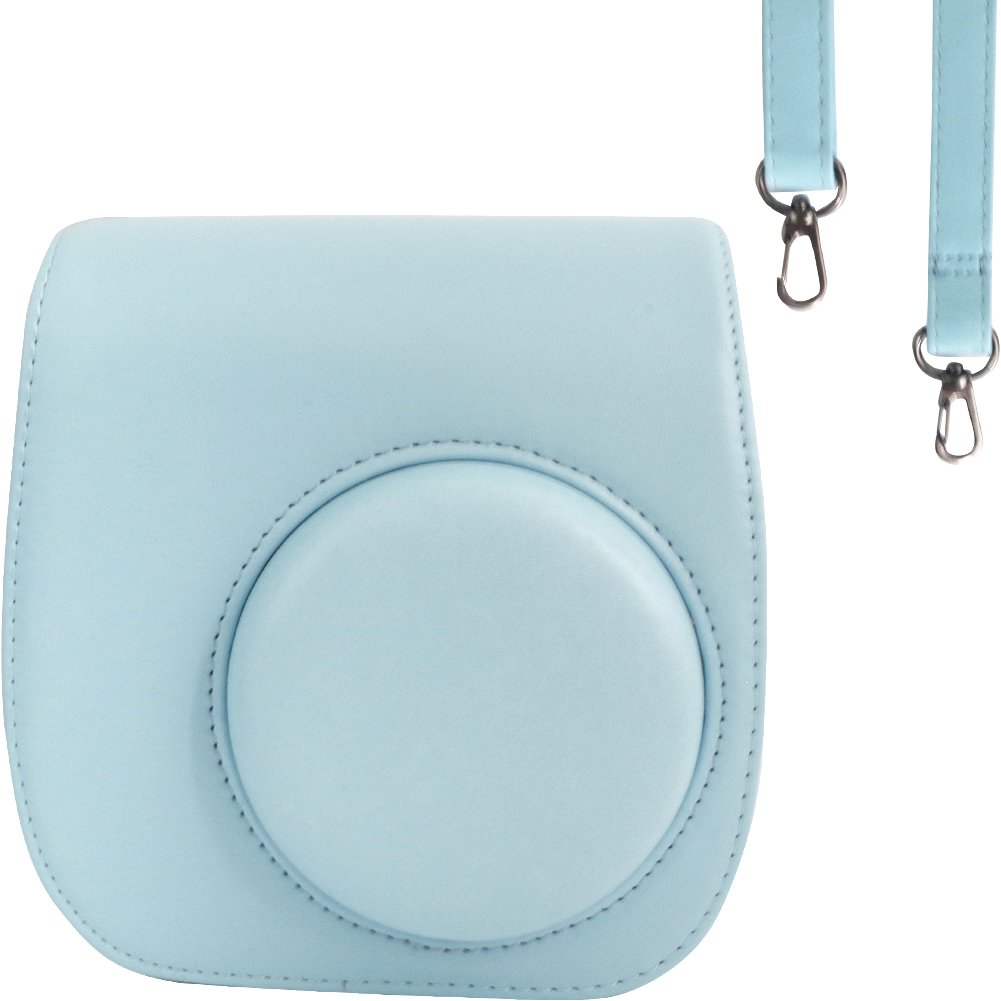Protective & Portable Case Compatible with fujifilm instax Mini 11/9/ 8/8+ Instant Film Camera with Accessory Pocket and Adjustable Strap - Blue by SAIKA