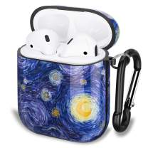 GOLINK Case for Airpods,Art Series Protective Shockproof TPU Gel Case with Printing for Airpods 1st/2nd Charging Case(Oil Painting Star Sky)