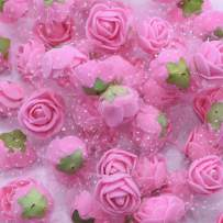 YONGSNOW Mini PE Foam Rose Flower Head 200pcs 2cm Artificial Rose Heads for DIY Scrapbooking Wreath Wedding Party Home Decoration (Pink)