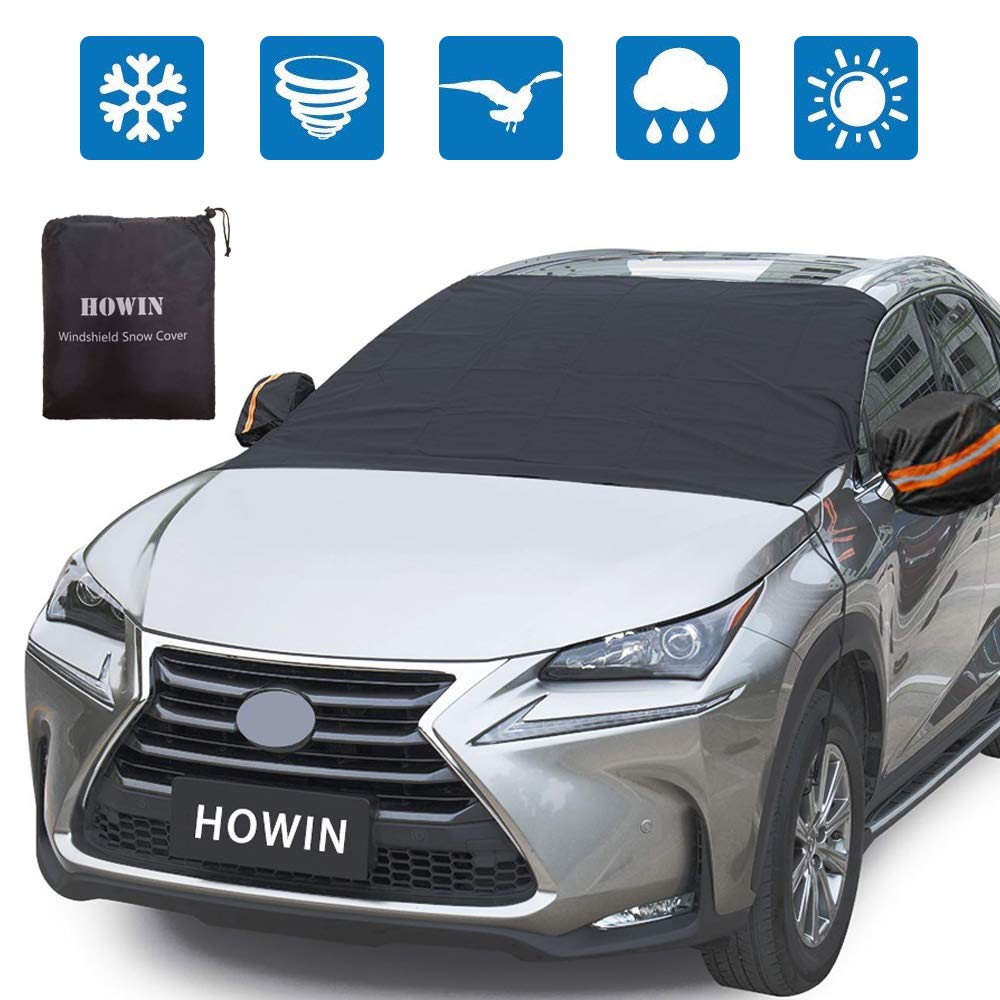 HOWIN Windshield Cover Car Windshield Cover for Snow Ice with Mirror Covers + 4 Magnetic Edges + Elastic Hooks, Windproof Waterproof Anti-UV Auto Windshield Shade,, All Weather Guard Fits Most Cars