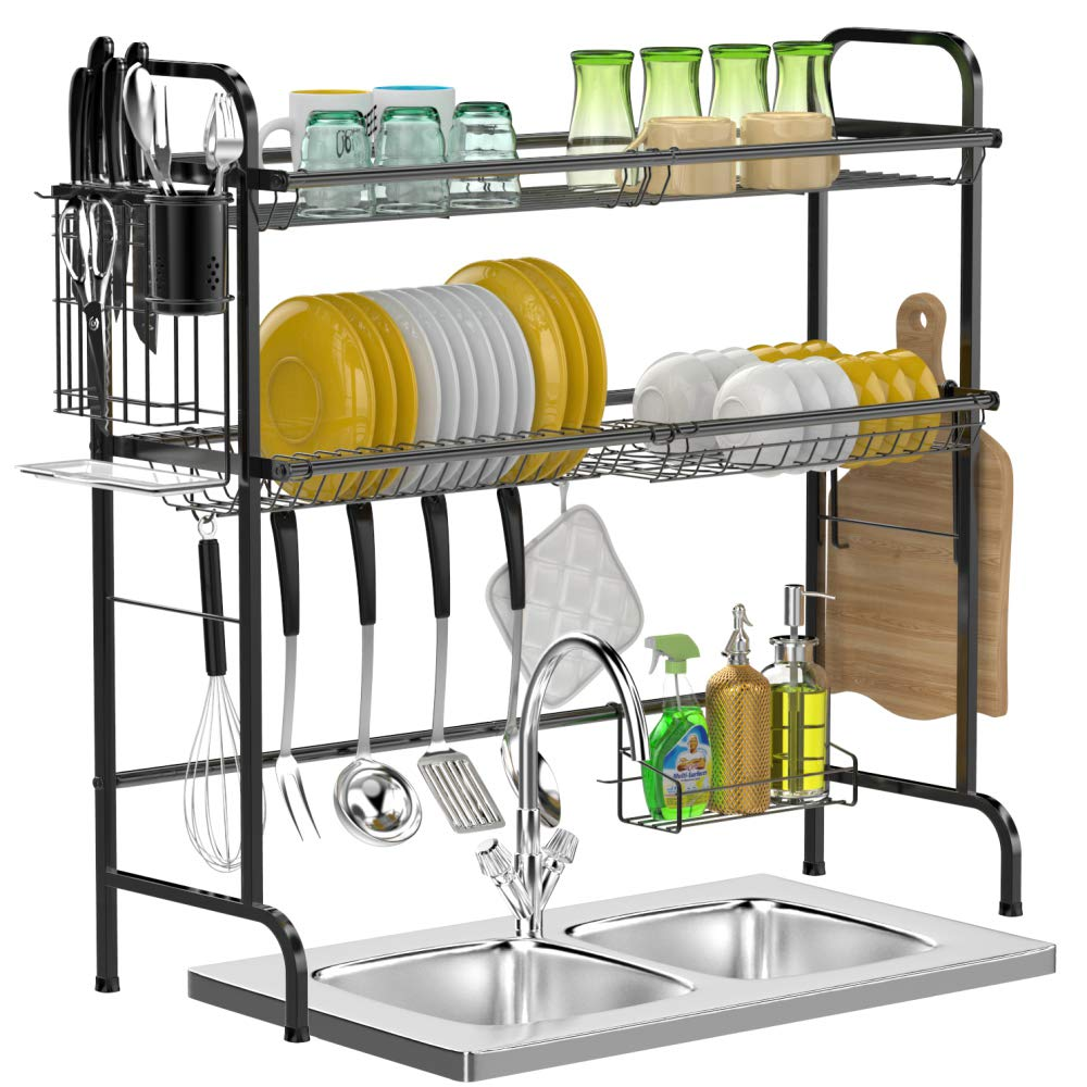 Over Sink Dish Drying Rack Gslife 2 Tier Stainless Steel Dish Rack Over Sink Shelf With Utensil Holder Cutting Board Holder Black