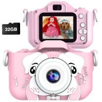 JOHURC Kids Digital Camera for Girls boy,Gifts for Boys Age 3 4 5 6 7 8, for Girls,Toys for Girls 4 5 6 7 8 Year Old,12MP HD Camcorders,Blue(32GB SD Card )