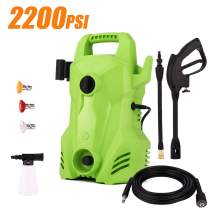Homdox 2200 PSI Electric Power Pressure Washer, 1.6 GPM 1400W Portable Washer Cleaner Machine with External Detergent Dispenser,3 Nozzles