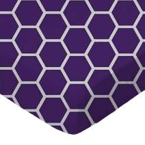 SheetWorld Fitted Portable / Mini Crib Sheet - Purple Honeycomb - Made In USA