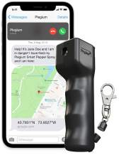 Plegium Smart Mini Pepper Spray for Self Defense. 3-in-1 with Free Emergency Location Texts & Phone Calls. One-Hand Magnetic Quick Release Keychain. 10-Foot Range. Packed in a Giftbox