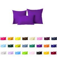 "Pair(2Pc) Solid Color Pillow Cover/Cushion Case (18""x18"", Purple)"